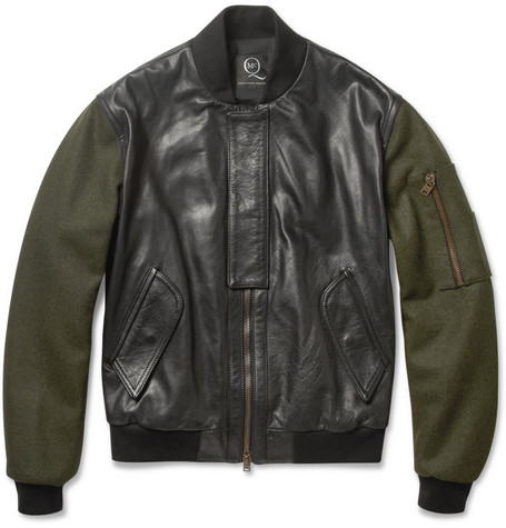 McQ Alexander McQueen Contrast-Sleeve Padded Leather Bomber Jacket