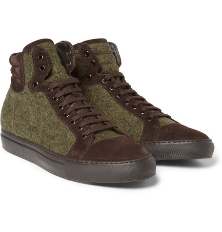 Armando Cabral Suede-Trimmed Wool High Top Sneakers