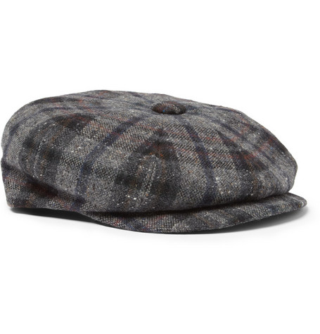 Lock & Co Hatters Plaid Harris Tweed Flat Cap