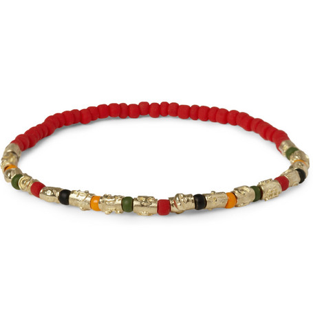 Luis Morais Gold and Glass Bead Symbol Bracelet