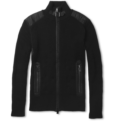 Belstaff Hamden Waxed-Cotton Trimmed Wool Cardigan