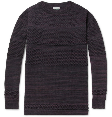 S.N.S. Herning Fisherman Striped Waffle-Knit Wool Sweater