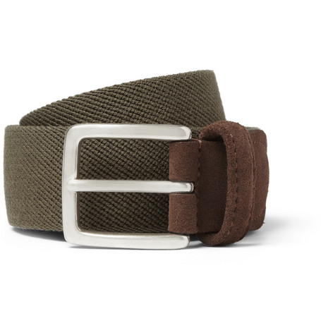 Anderson's Cotton-Canvas and Suede Belt