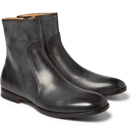 Maison Martin Margiela Burnished Zipped Leather Boots