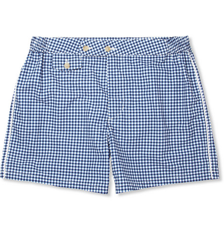 Chucs Mid-Length Gingham-Print Swim Shorts