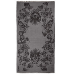Horiyoshi the Third Skull-Print Silk and Cashmere-Blend Scarf
