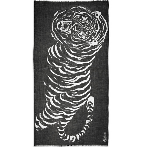 Horiyoshi the Third Big Tiger Printed Silk and Cashmere-Blend Scarf