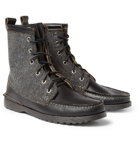 Quoddy Grizzly Leather and Herringbone Tweed Boots