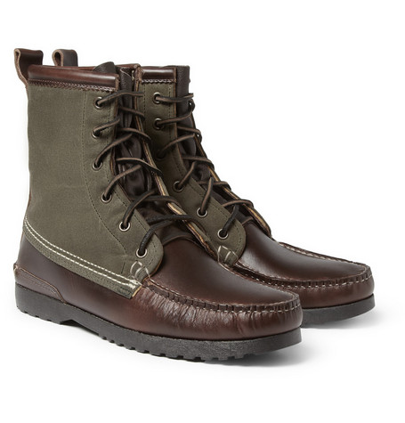 Quoddy Grizzly Leather and Canvas Boots