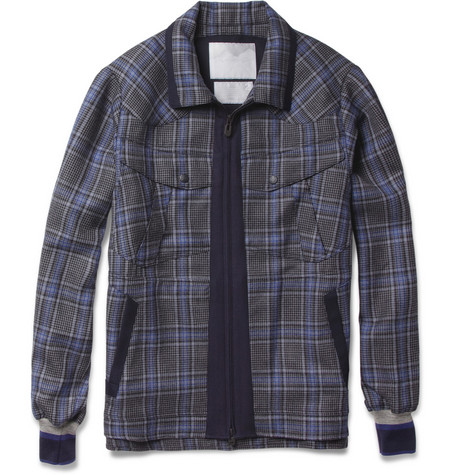 White Mountaineering Check Lightweight Wool Bomber Jacket