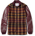 White Mountaineering Leather-Sleeved Check Wool-Blend Jacket