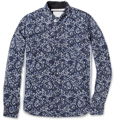 White Mountaineering Paisley-Patterned Cotton-Chambray Shirt