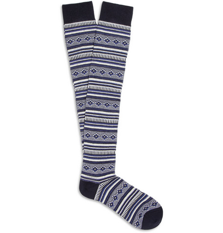 White Mountaineering Patterned Knitted Knee-Length Socks