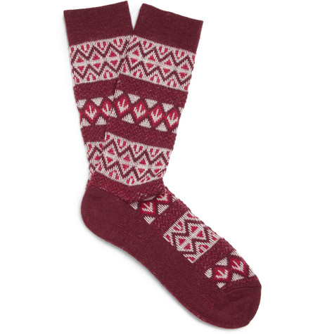 White Mountaineering Patterned Knitted Socks