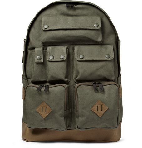 White Mountaineering Leather-Trimmed Multi-Pocket Backpack