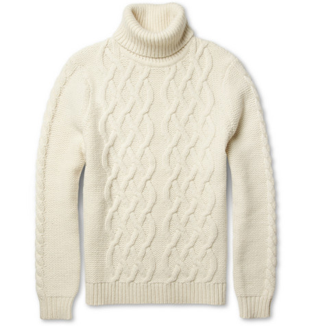 Sandro Cable-Knit Lambswool-Blend Rollneck Sweater