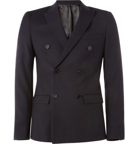 Sandro Slim-Fit Double-Breasted Wool Blazer