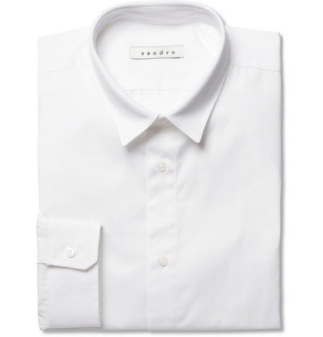 Sandro White Slim-Fit Cotton Tuxedo Shirt