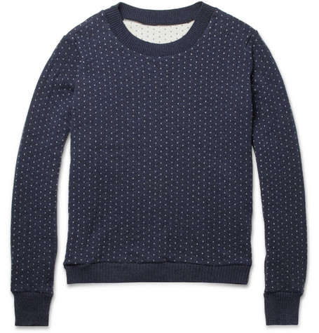 The Elder Statesman Tyro Pin-Dot Merino Wool and Cashmere-Blend Sweater