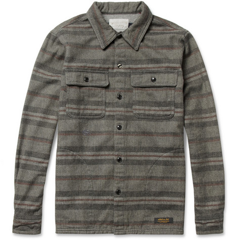 Neighborhood Striped Woven-Wool and Cotton-Blend Overshirt