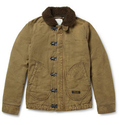 Neighborhood Shearling-Effect Trimmed Twill Jacket