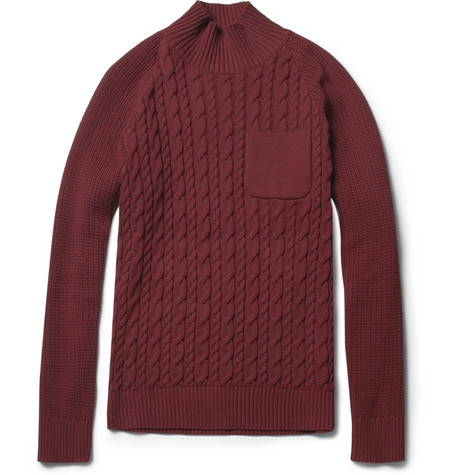 Undercover Cable-Knit Cotton Funnel-Neck Sweater