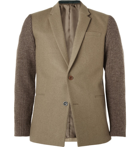 Undercover Slim-Fit Ribbed-Sleeve Wool-Blend Flannel Blazer