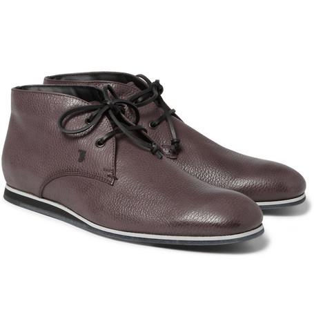 Tod's No_Code Rubber-Sole Textured-Leather Desert Boots