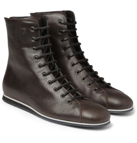 Tod's No_Code Rubber-Sole Leather Boxer Boots