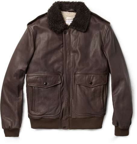 Gant Rugger A-2 Faux Shearling-Lined Leather Bomber Jacket