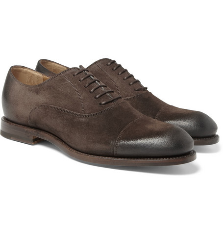 Gucci Burnished-Suede Oxford Shoes