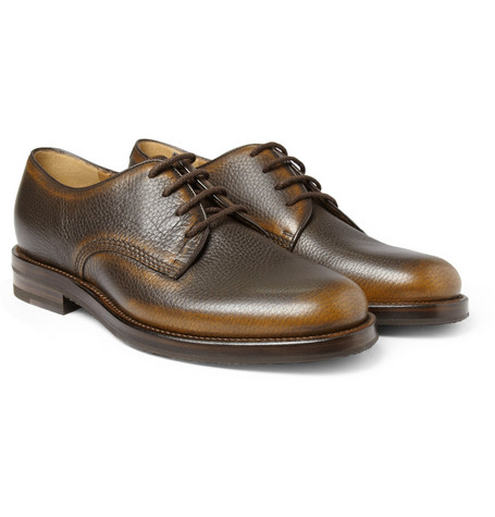 Gucci Burnished Full-Grain Leather Derby Shoes