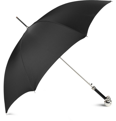 Archer Adams Silver-Plated Skull Handle Umbrella