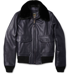 Schott G1 Shearling-Collar Leather Bomber Jacket