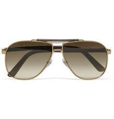 Gucci Leather and Metal Aviator Sunglasses