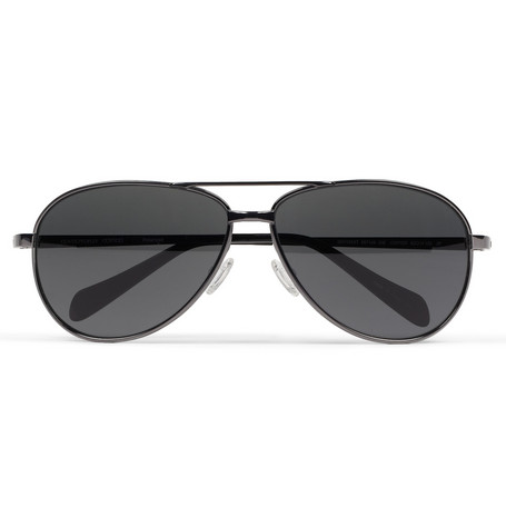 Oliver Peoples Copter Polarised Metal Aviator Sunglasses