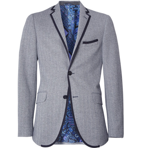 Etro Grosgrain-Trimmed Herringbone Cotton Blazer