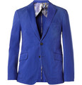 Etro Blue Unstructured Cotton-Twill Suit Jacket