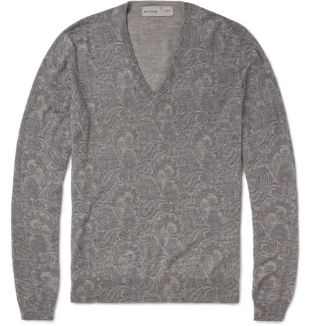 Etro Paisley-Print Wool, Silk and Cashmere-Blend Sweater