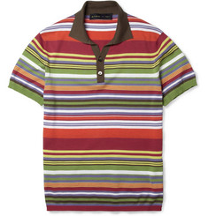 Etro Striped Fine-Knit Cotton Polo Shirt