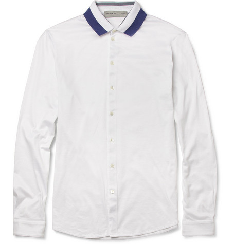 Etro Striped-Collar Cotton-Jersey Polo Shirt