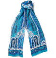 Etro - Printed Linen and Silk-Blend Scarf