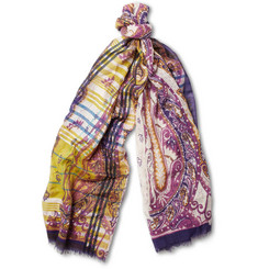 Etro Printed Wool and Silk-Blend Scarf
