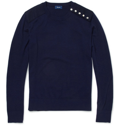 Faconnable Wool and Cashmere-Blend Crew Neck Sweater