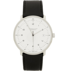 Junghans x Max Bill Stainless Steel and Leather Automatic Watch