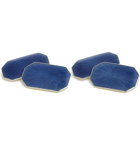 Foundwell 14-Karat Gold and Vitreous Enamel Cufflinks
