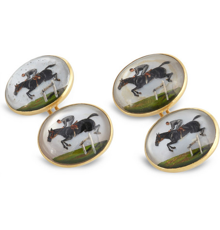 Foundwell 18-Karat Gold and Essex Crystal Jockey Cufflinks