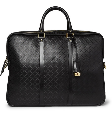 Gucci Diamond-Embossed Leather Briefcase