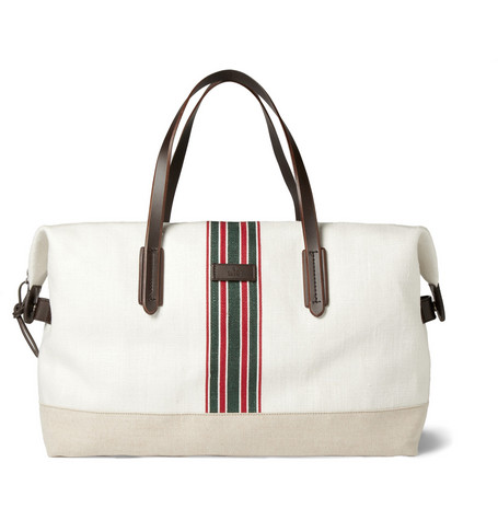 Gucci Striped Cotton-Canvas Holdall Bag