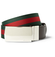 Gucci Leather-Backed Web Belt